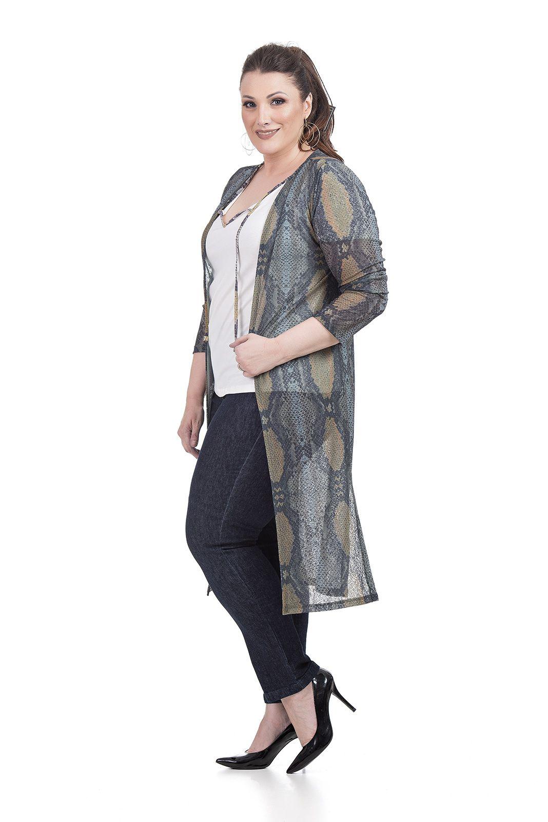 Blusa Cartigan Longo Plus Size