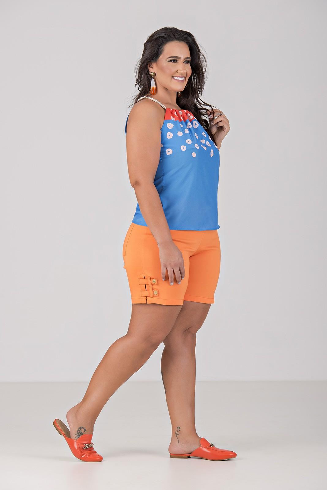 Blusa Cortininha em Tecido com Elastano - Plus Size
