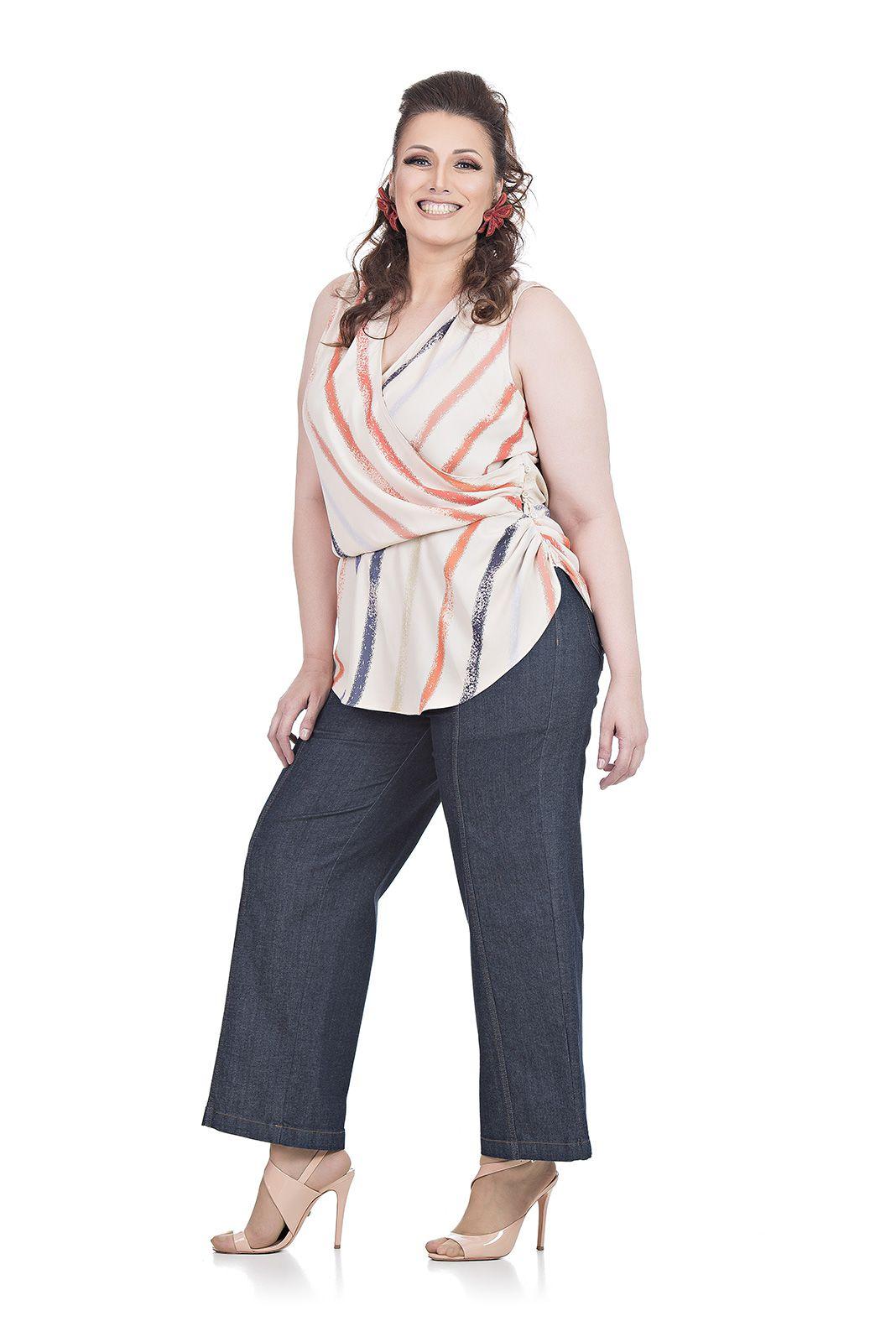 Blusa Decote Transpassado Plus Size