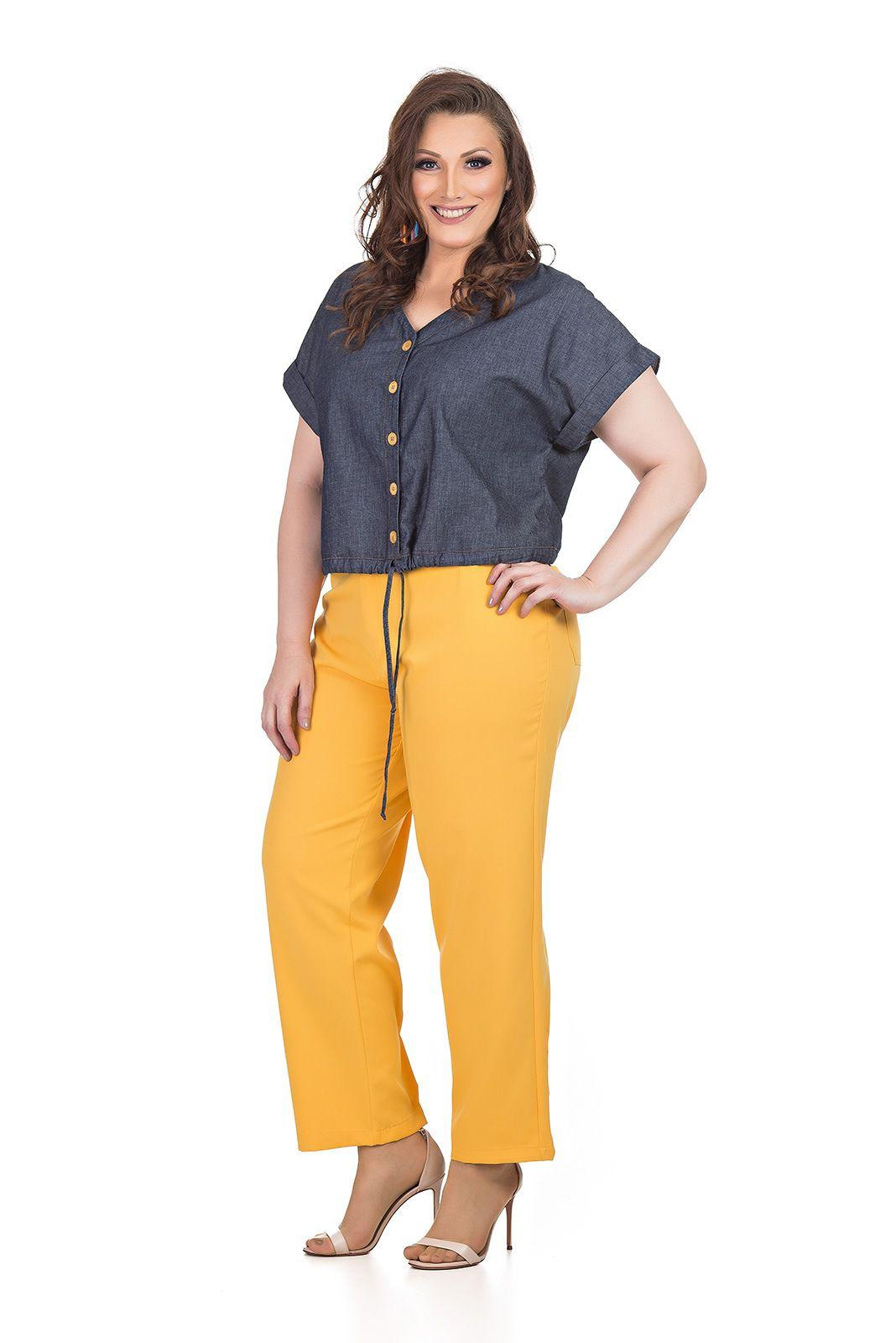 Blusa em Jeans com Elastano Plus Size