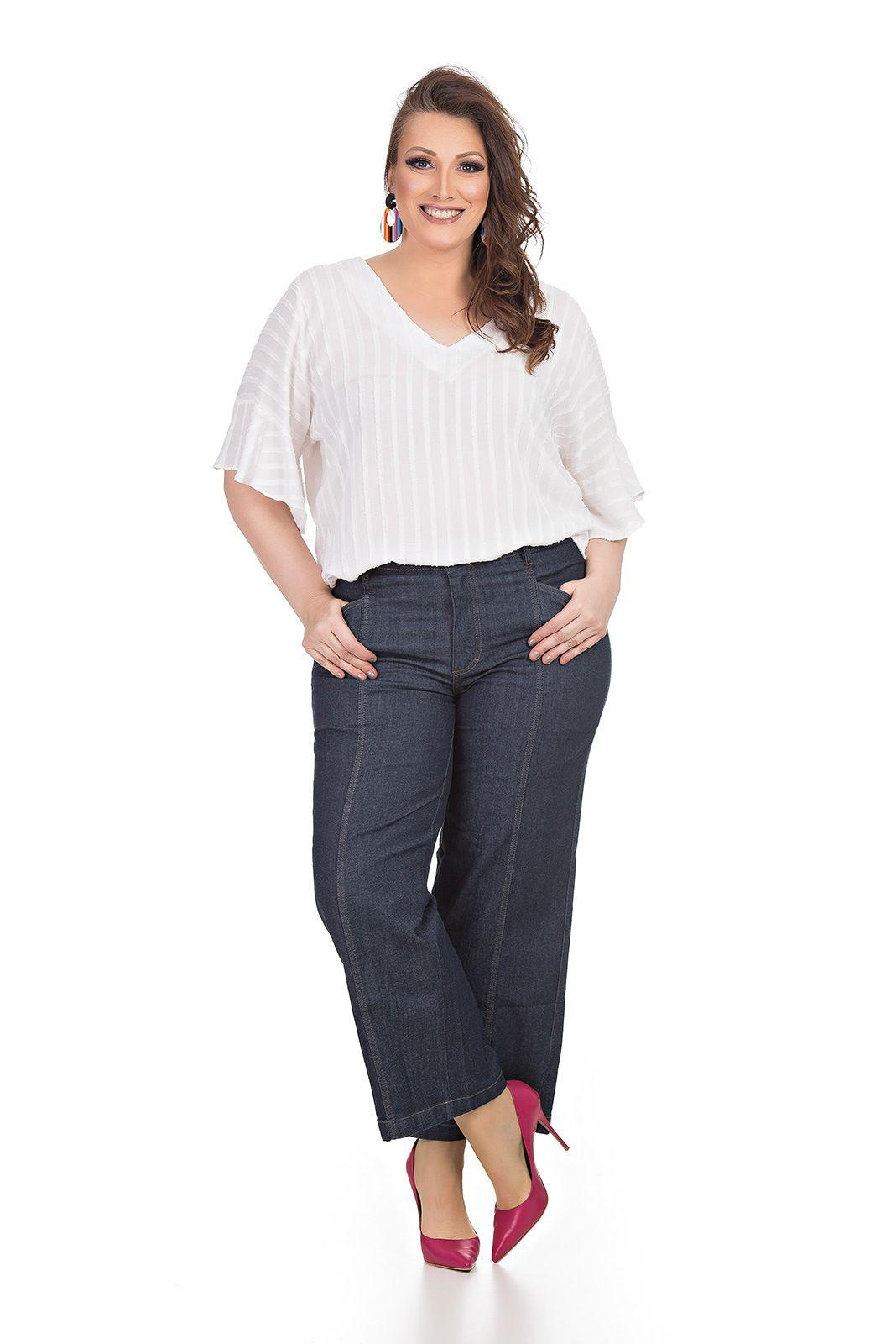 Blusa em tecido devore Plus Size