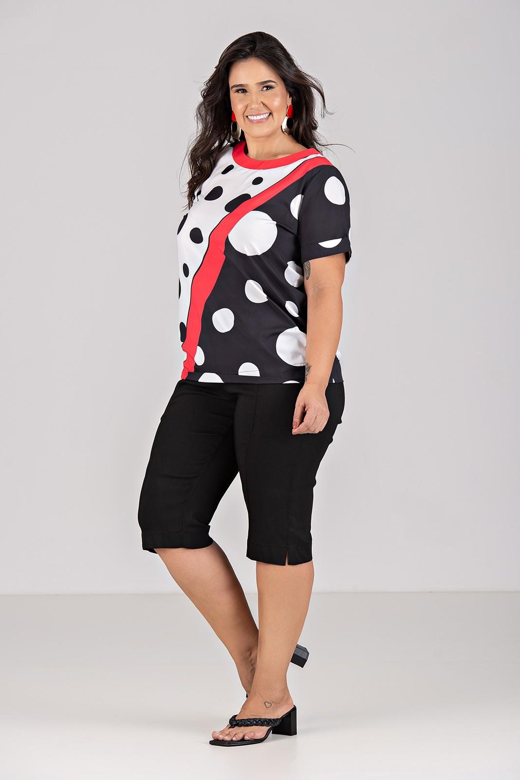 Blusa Manga Curta em Tecido com Elastano - Plus Size