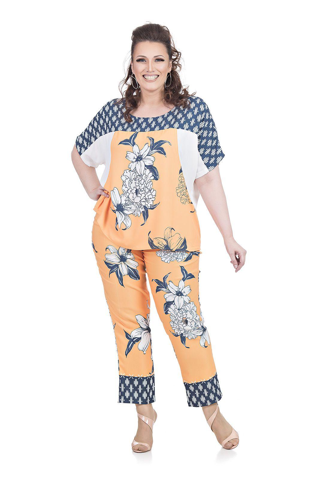 Blusa Manga Curta Plus Size