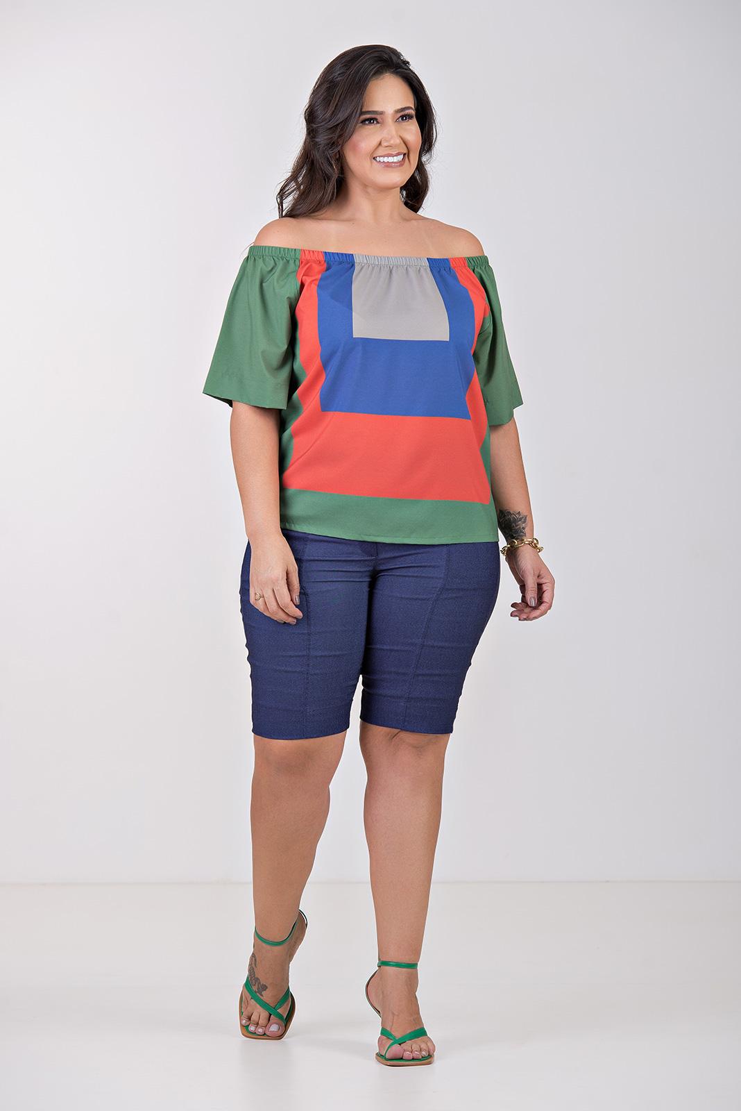 Blusa ombro a ombro tricolor- Plus Size