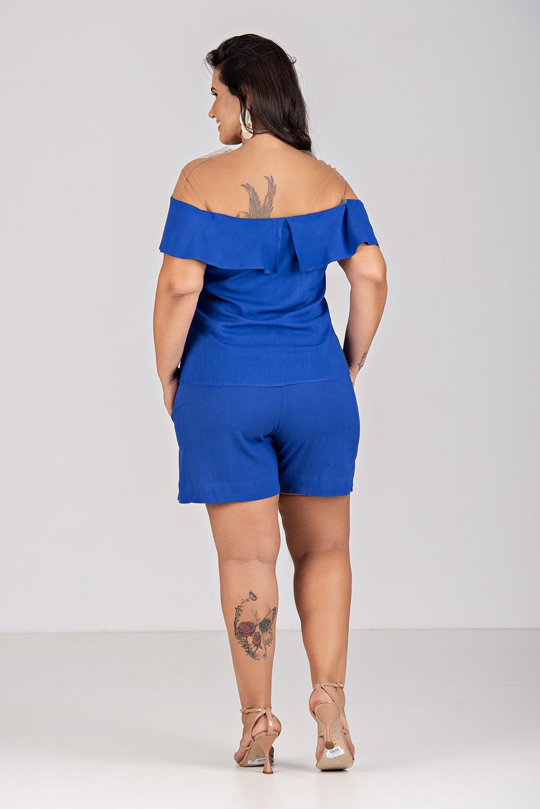 blusa Viscolinho Com Elastano com Ombro Transparente - Plus Size