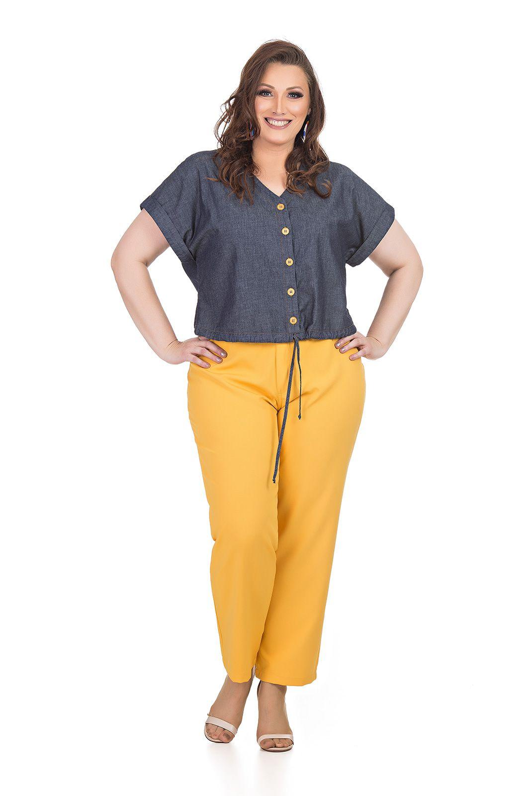 Calça em alfaiataria com elastano Plus Size