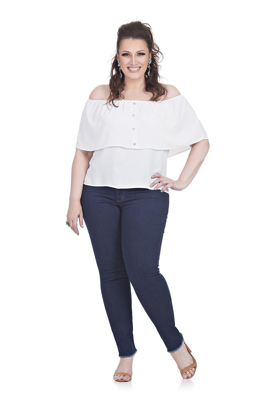 Calça Malha cor Jeans Plus Size