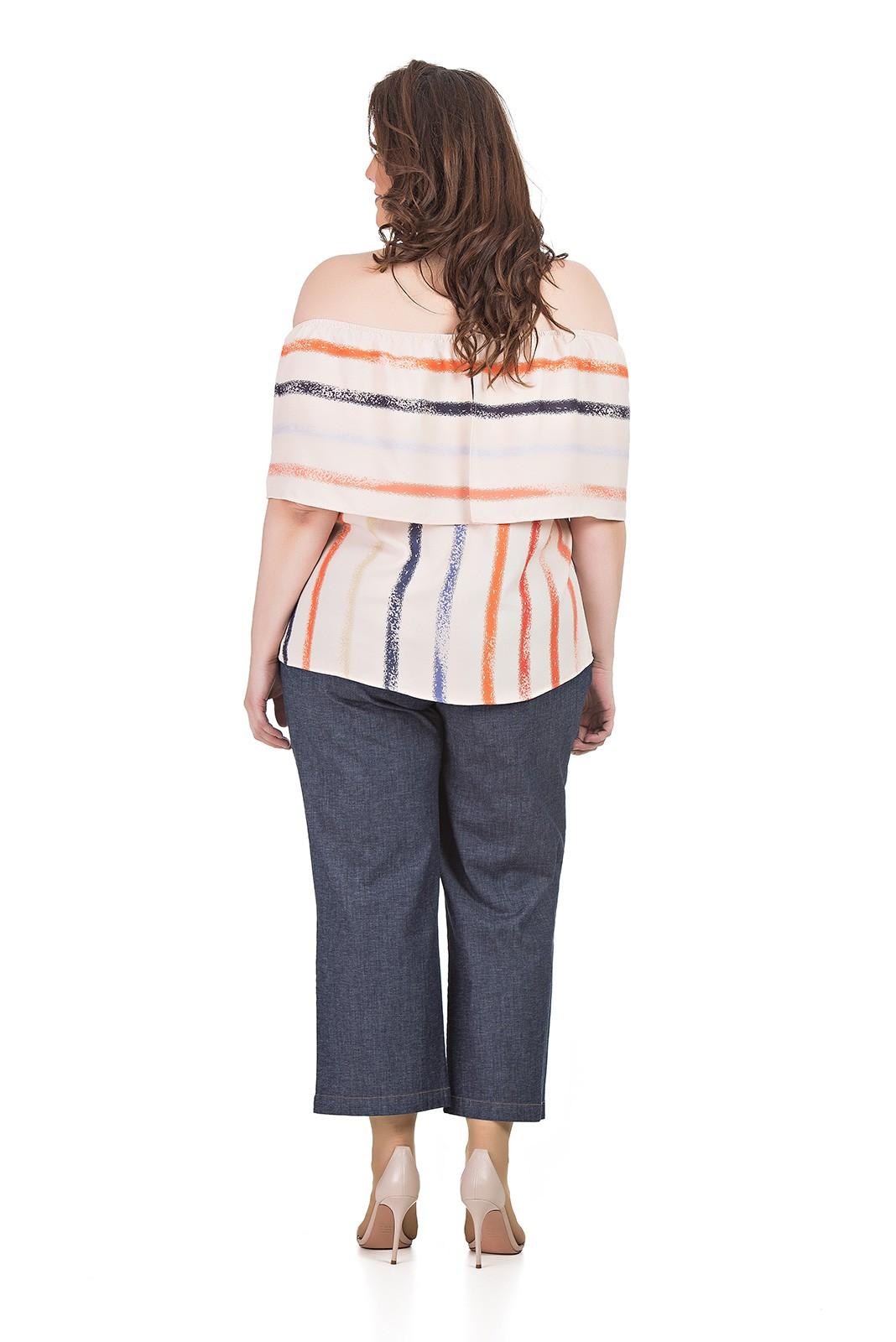 Calça Pantacourt Jeans