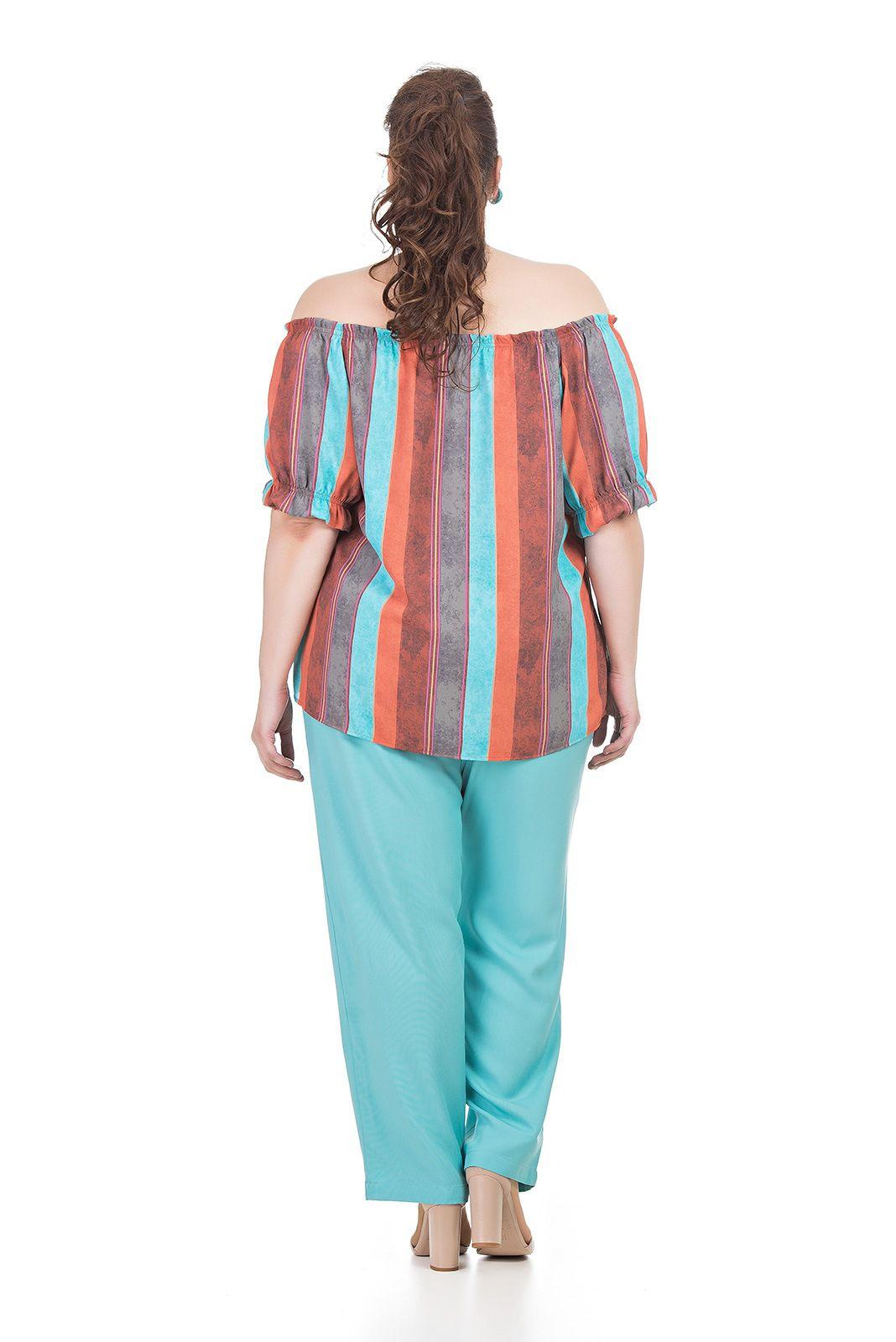 Calça tipo pijama, viscose Plus Size