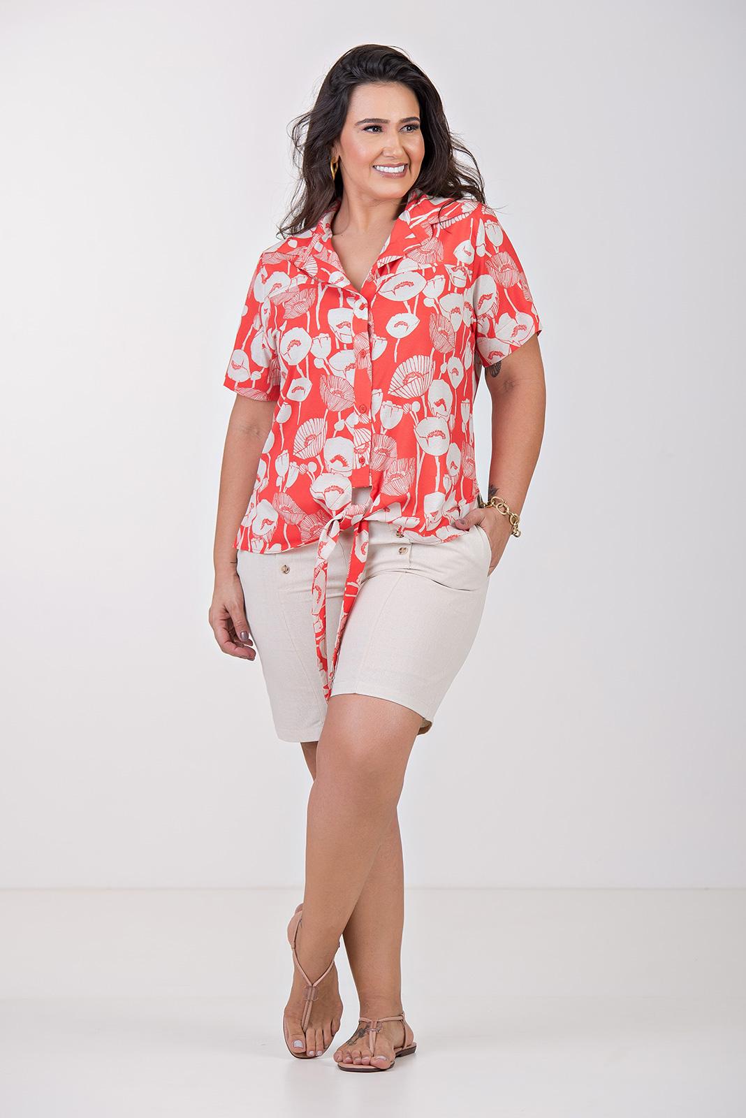 Camisa com amarração nó- Plus Size