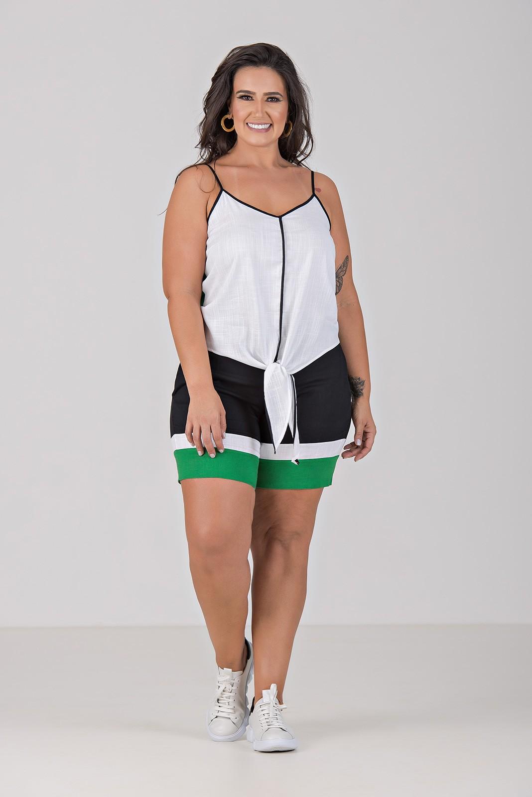 Conjunto Calça e Blusa Estampa Localizada - Plus Size