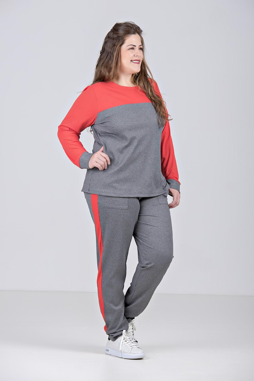 Conjunto comfy de mangas longas em malha canelada com elastano - Plus Size