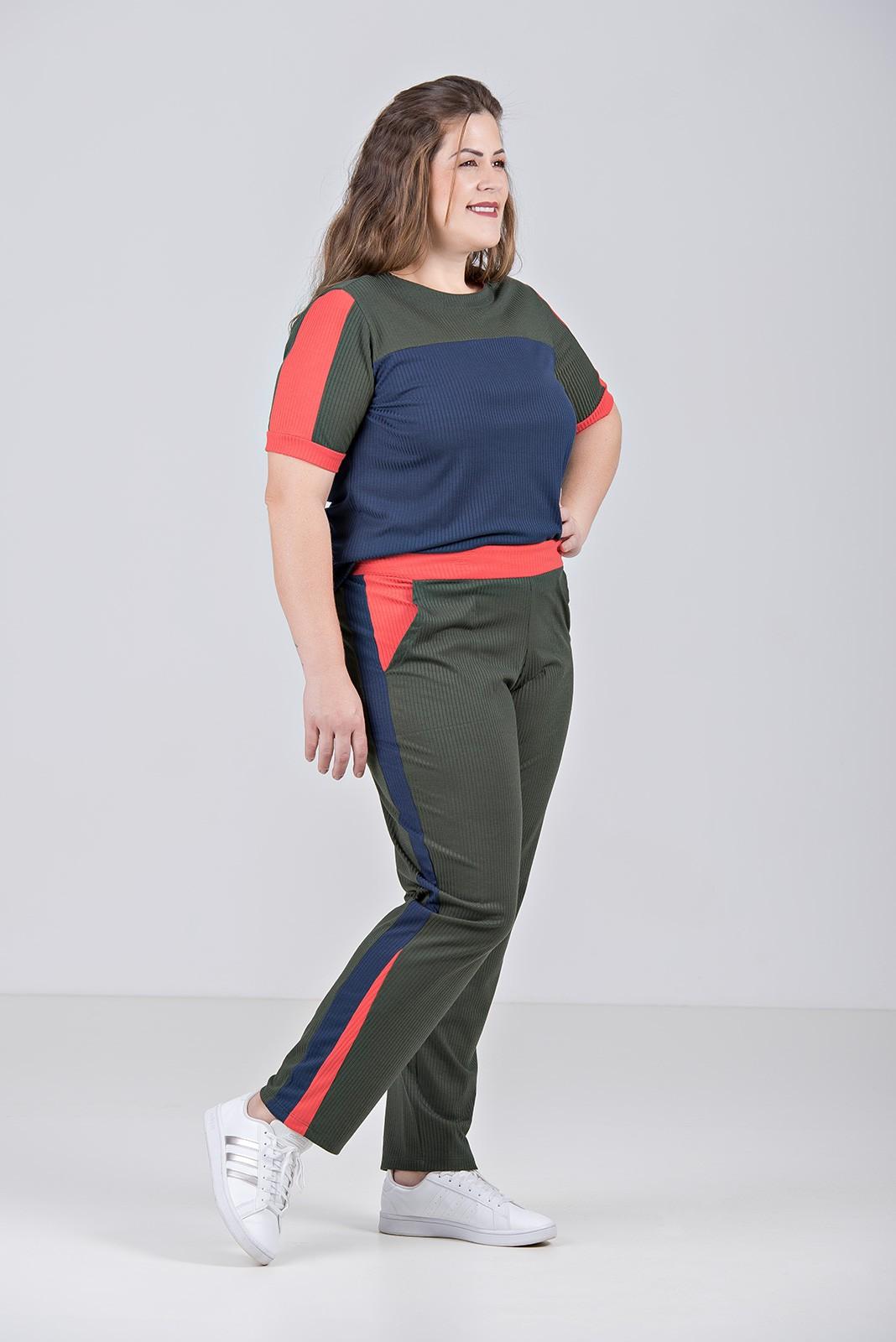 Conjunto Tricolor em Malha Canelada com Elastano - Plus Size