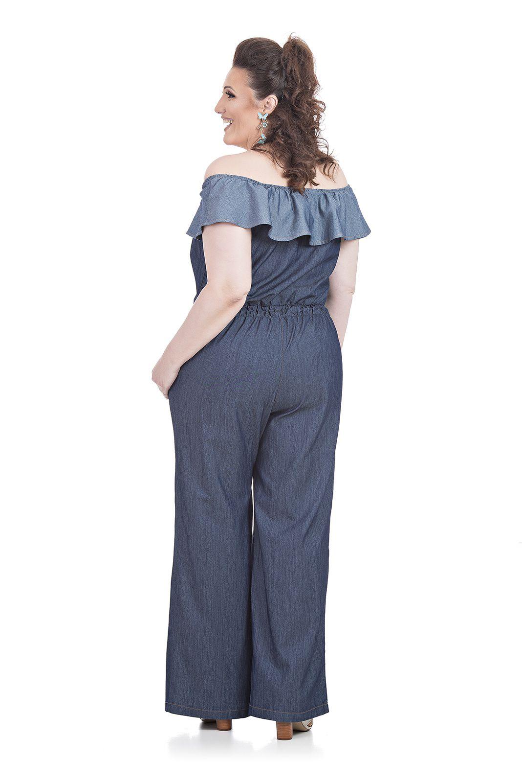 Macacão Jeans Plus Size