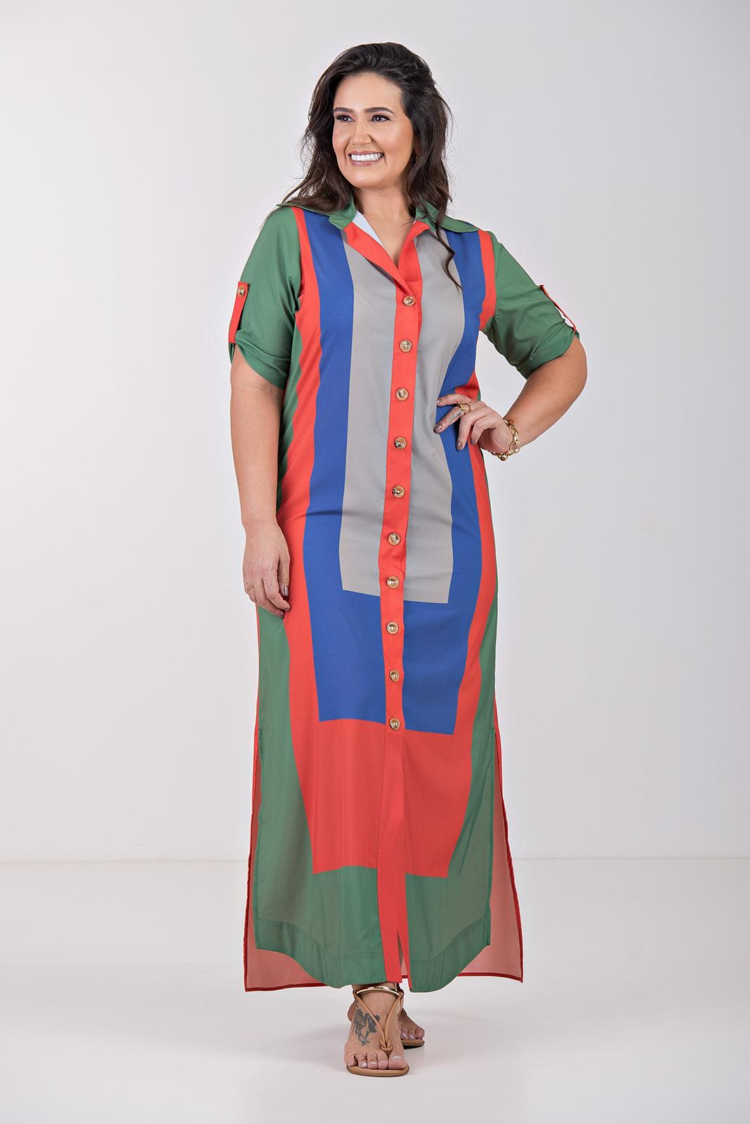 Vestido Chemisie c/ Manga tricolor- Plus Size