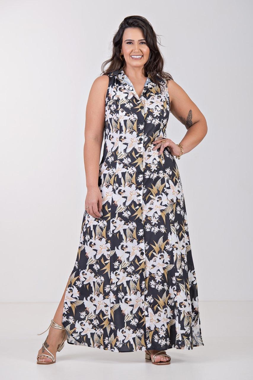 Vestido Chemisie Floral Cavada- Plus Size