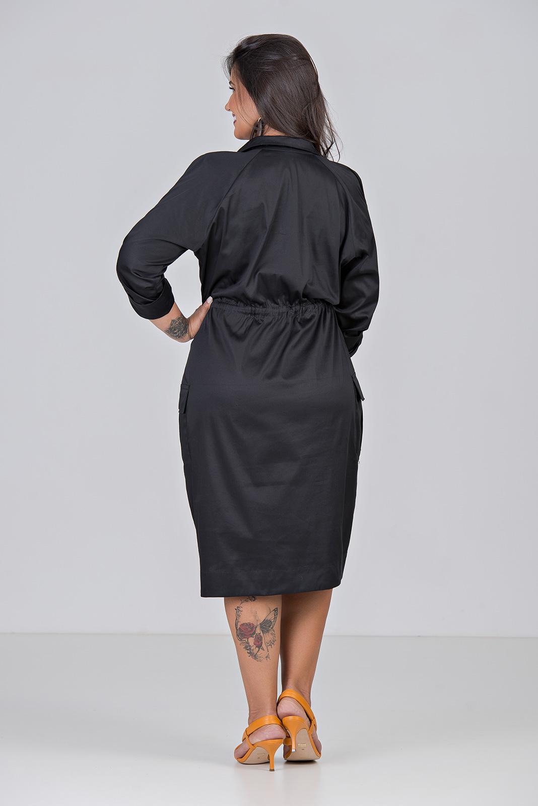 Vestido Chemisie Tecido Tricoline Com Elastano - Plus Size