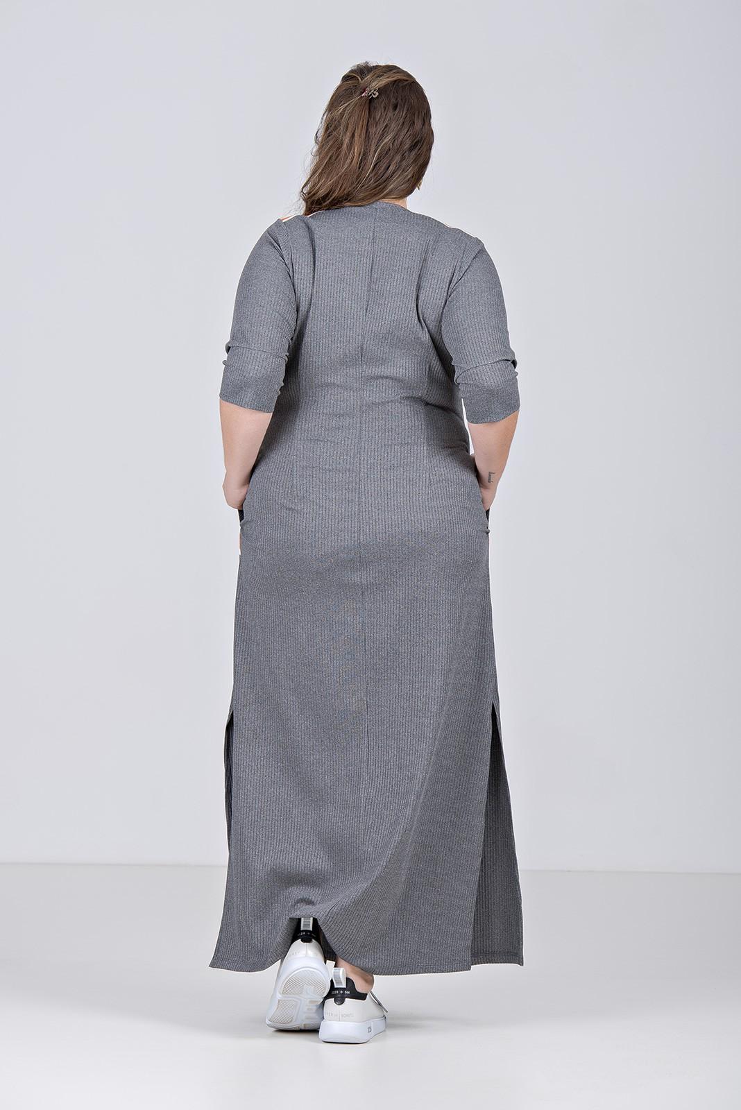 Vestido da linha comfy com z¡per frontal em malha canelada com elastano - Plus Size