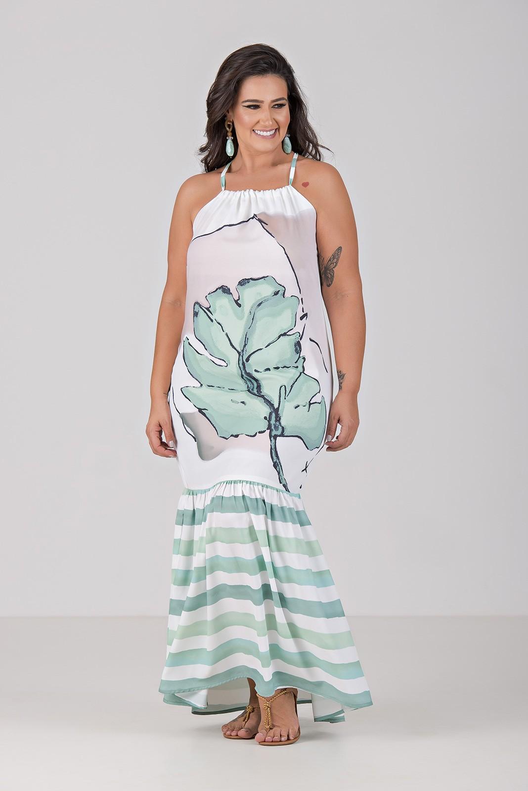 Vestido de Cortininha e Estampa Localizada - Plus Size