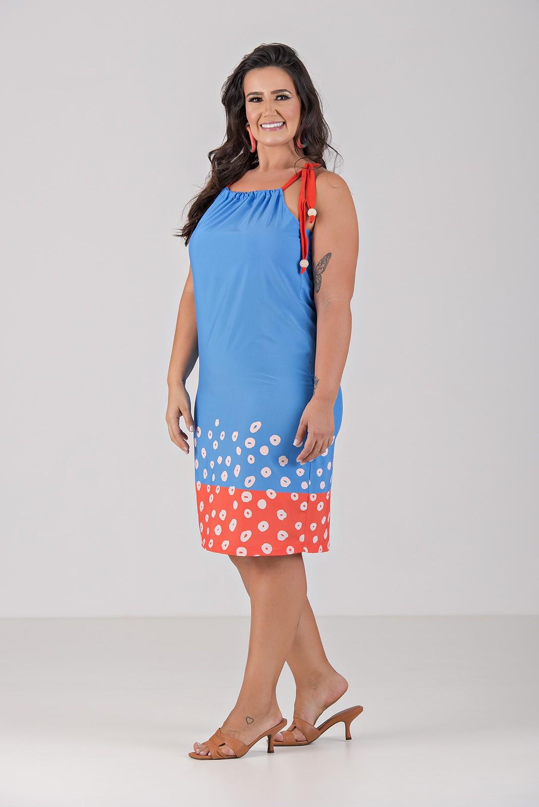Vestido de Cortininha em Tecido Com Elastano - Plus Size