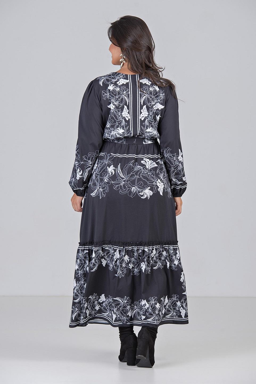 Vestido de Manga Longa e Estampa de Lenço - Plus Size