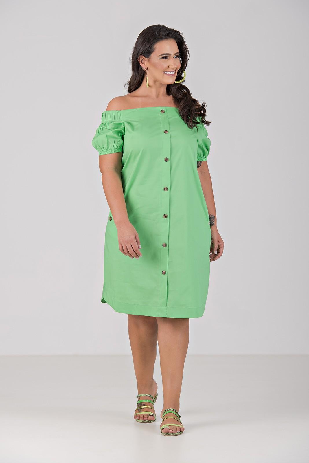 Vestido de Tricoline Com Elastano Ombro a Ombro - Plus Size