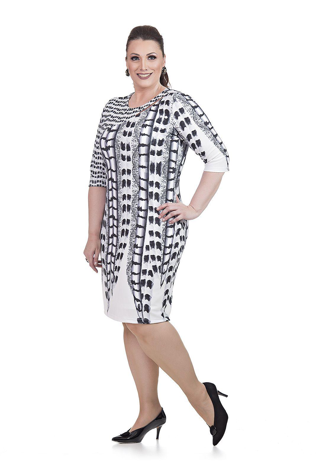 Vestido Decote diagonal Plus Size
