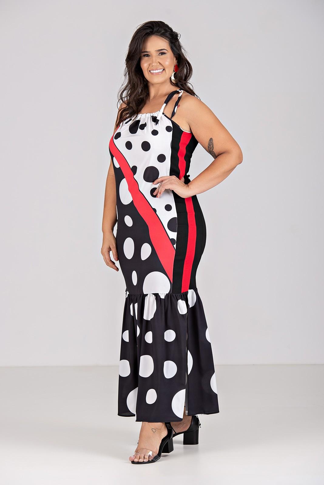 Vestido Longo de Bengaline, Tecido com Elastano - Plus Size