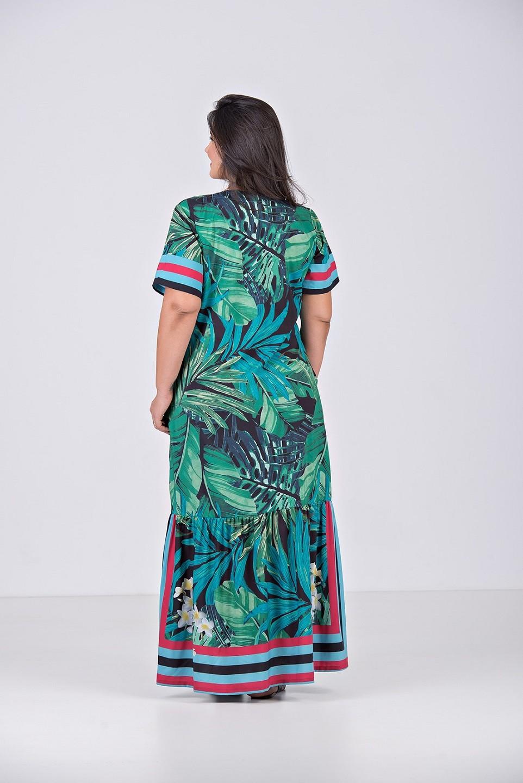 Vestido Longo Estampado, em Tecido com Elastano e Silk localizado - Plus Size