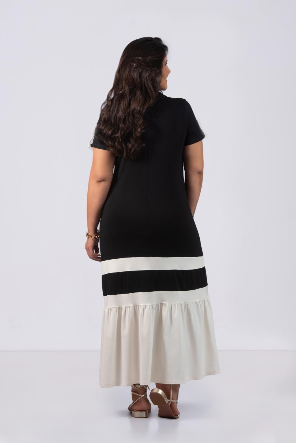 VESTIDO MALHA C/ GOLA - Plus Size