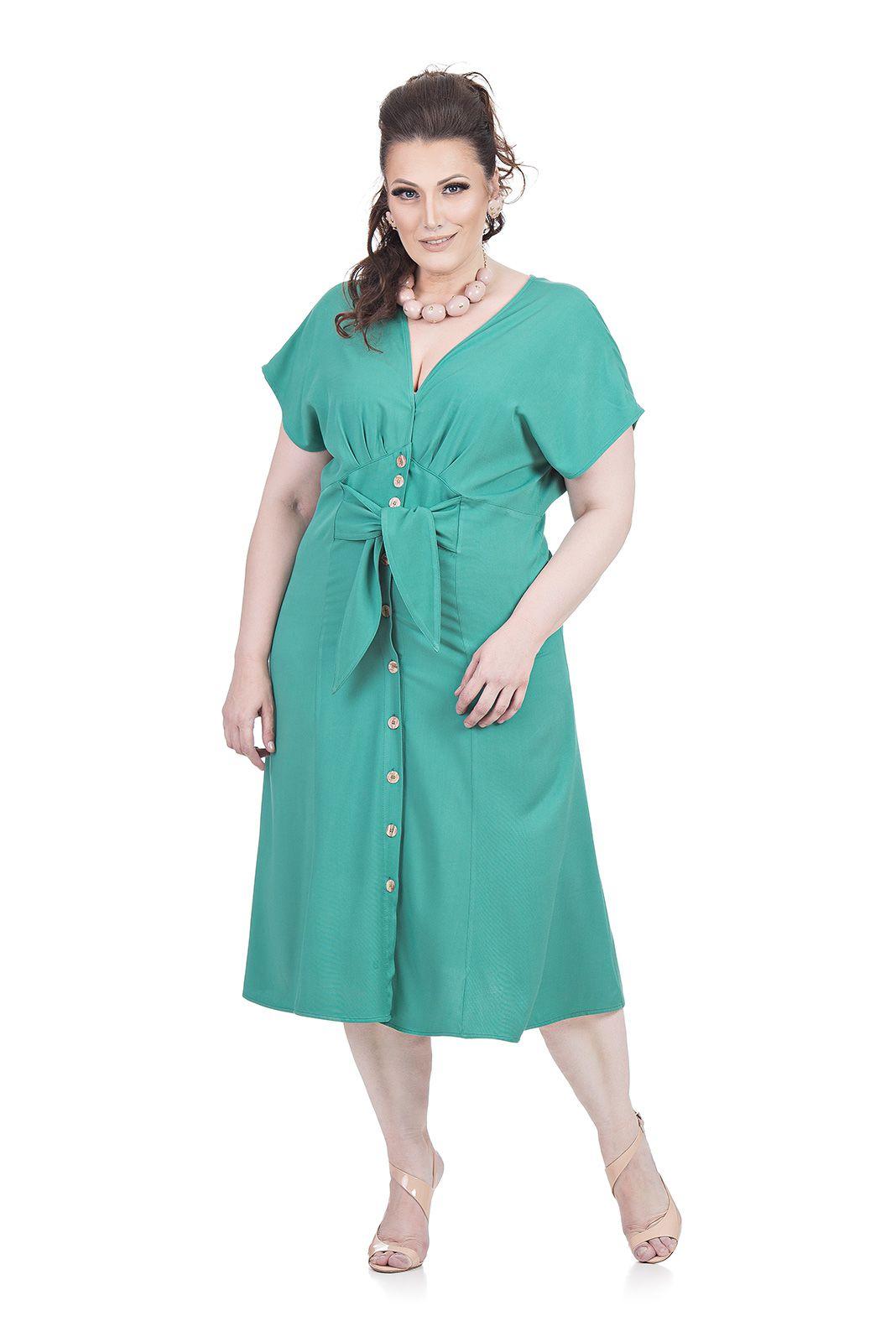 Vestido Midi Abertura frontal Plus Size