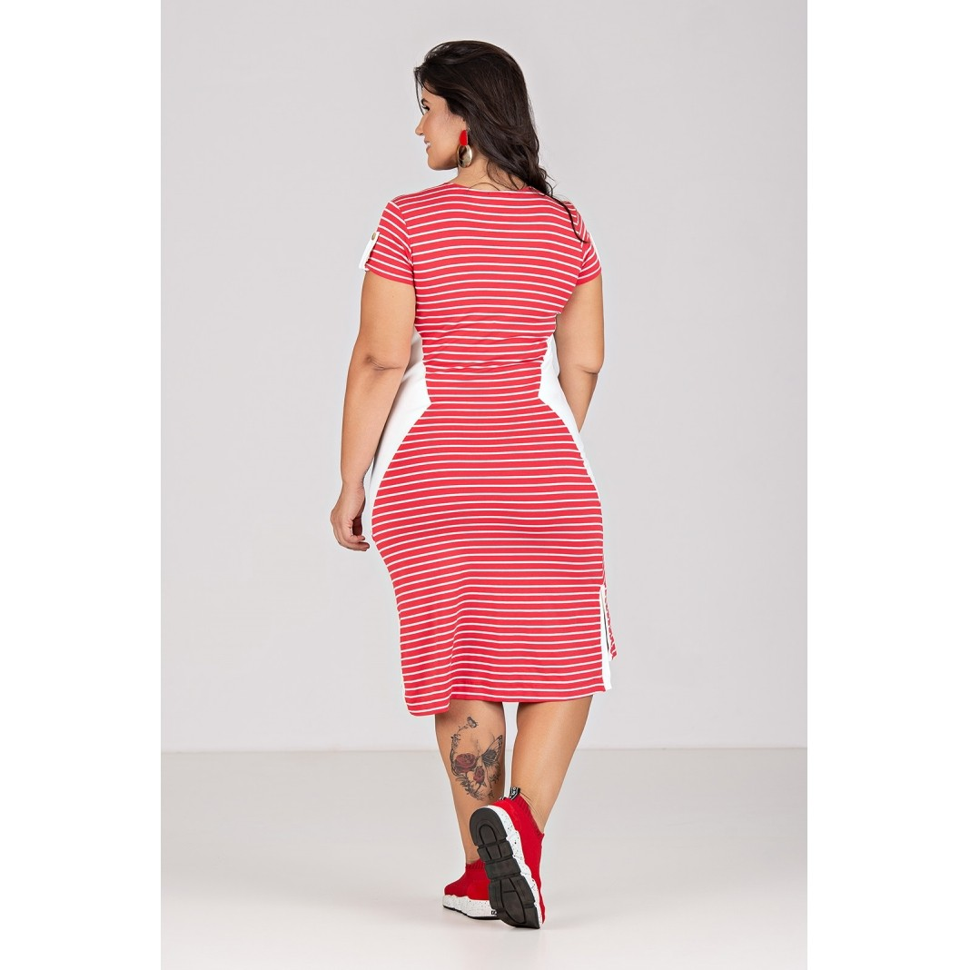 Vestido Midi de Malha Fio Tinto Com Elastanoi - Plus Size