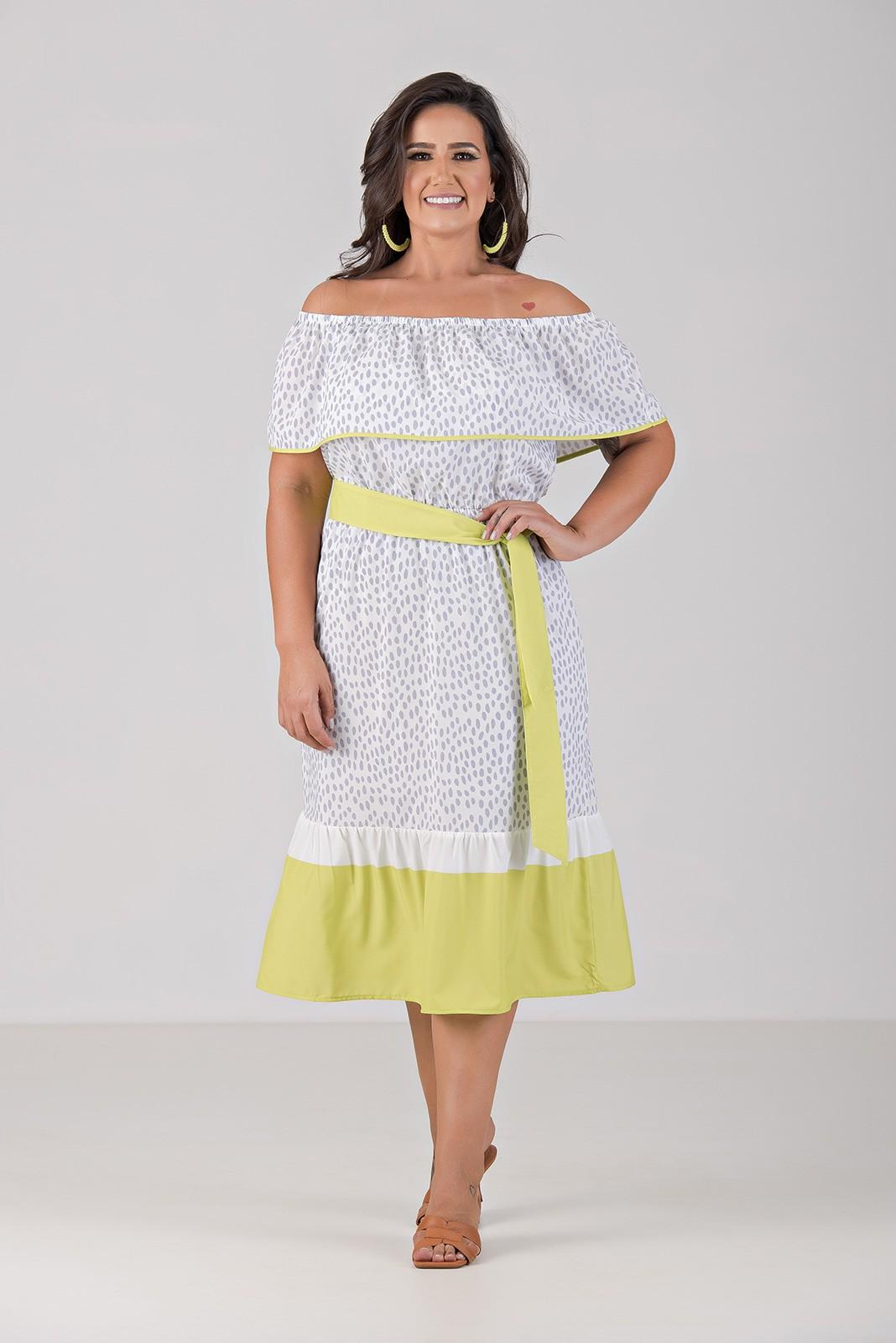 Vestido Midi em Tecido com Elastano - Plus Size