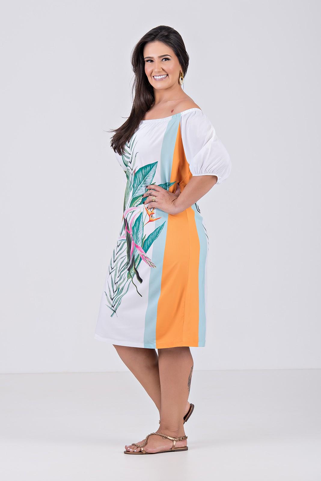 Vestido Midi Ombro a Ombro em Tecido Com Elastano - Plus Size