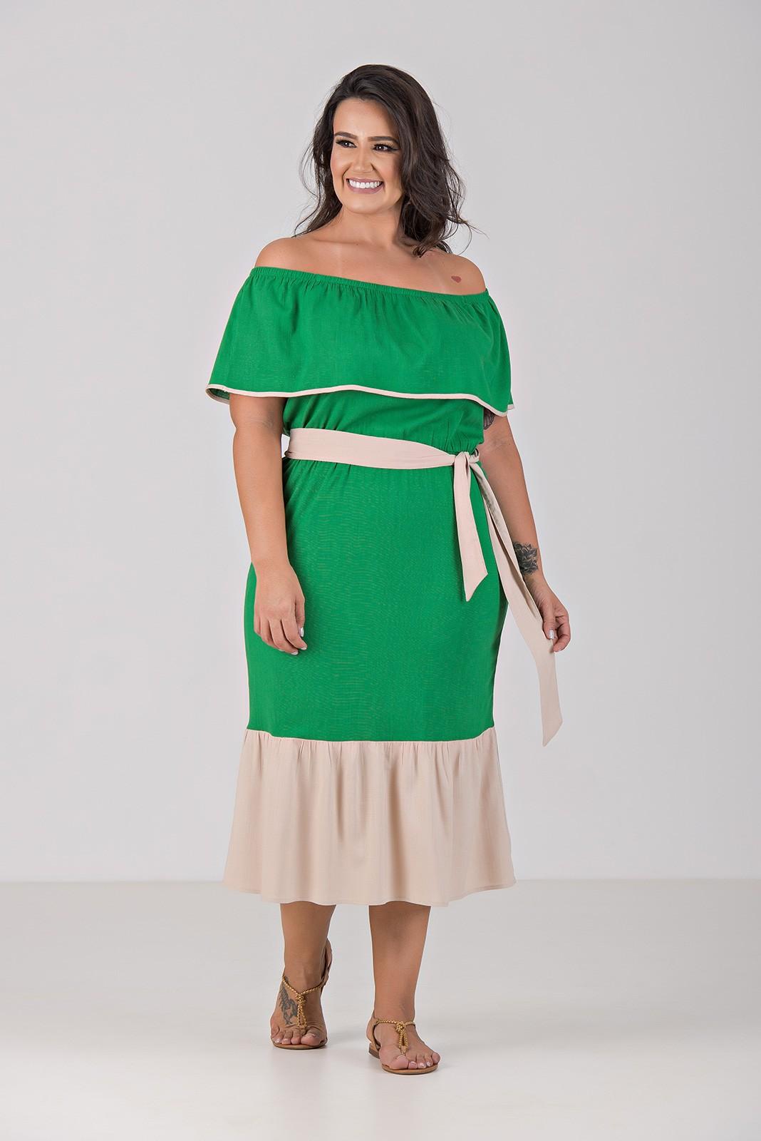 Vestido Midi Viscolinho Com Elastano - Plus Size