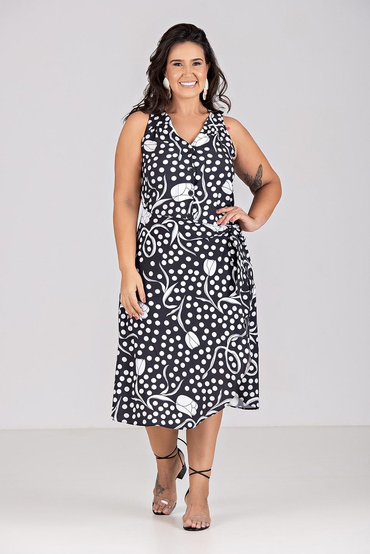 Vestido Pareo em Tecido Plano de Malha - Plus Size
