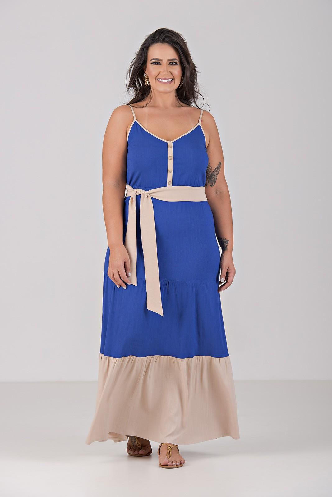Vestido Tres Marias Em Viscolinho com Lycra - Plus Size