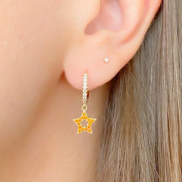 Argola click star laranja