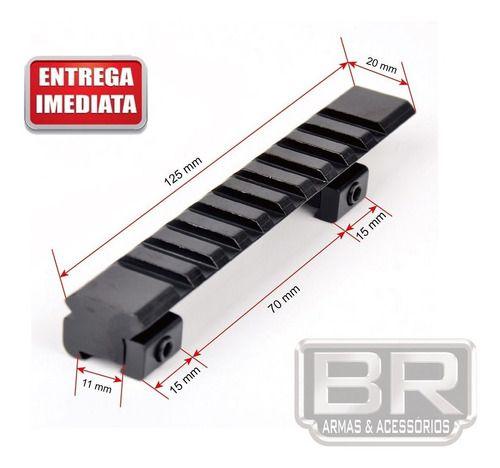 Adaptador De Trilho Picatinny De 11mm Para 20 Mm Com 124 Mm