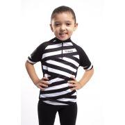 Camisa Ciclismo Infantil Preto e Branco