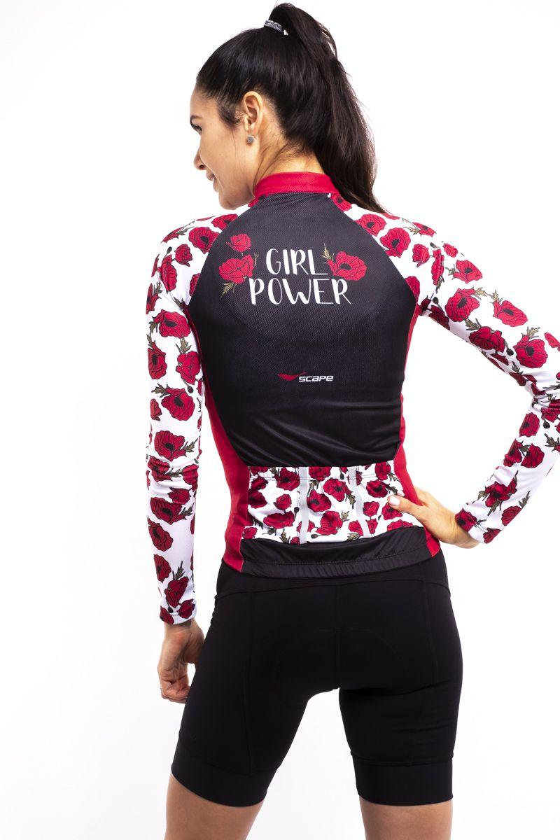 Camisa Ciclismo Girl Power Manga Longa