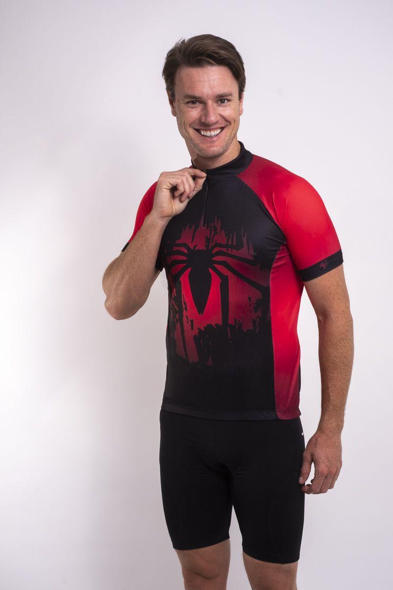 Camisa De Ciclismo Homem Aranha Black