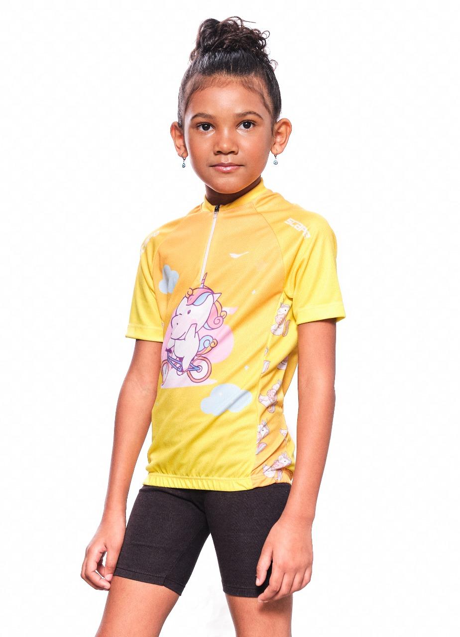 Camisa Ciclismo Infantil Ciclista Unicórnio