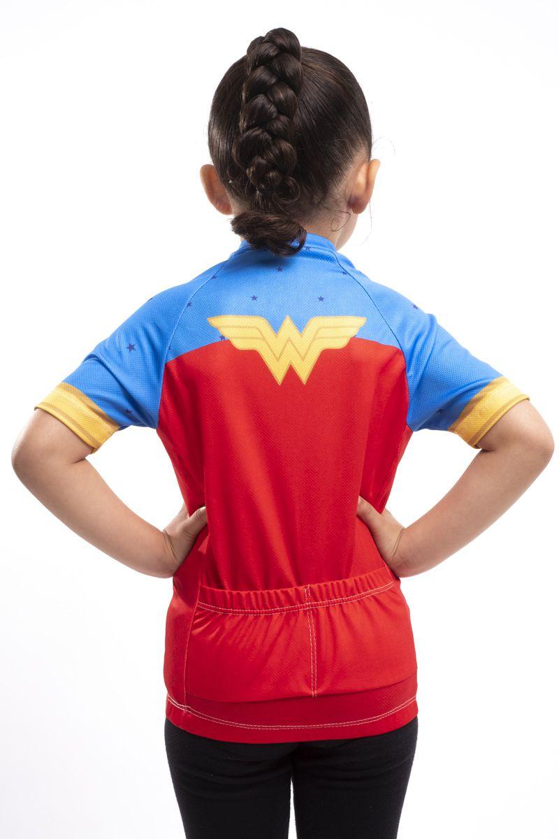 Camisa Ciclismo Infantil Mulher Maravilha