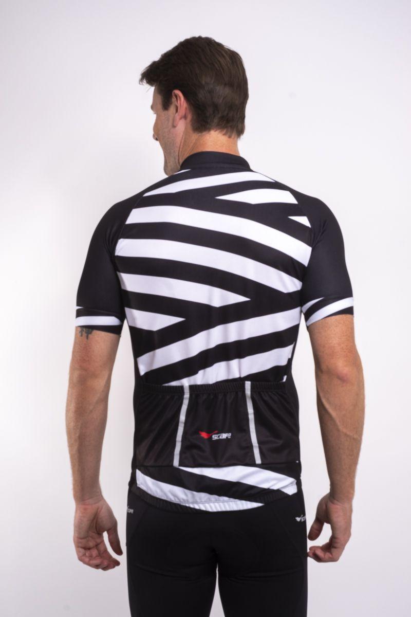 Camisa Ciclismo Preto e Branco Manga Curta