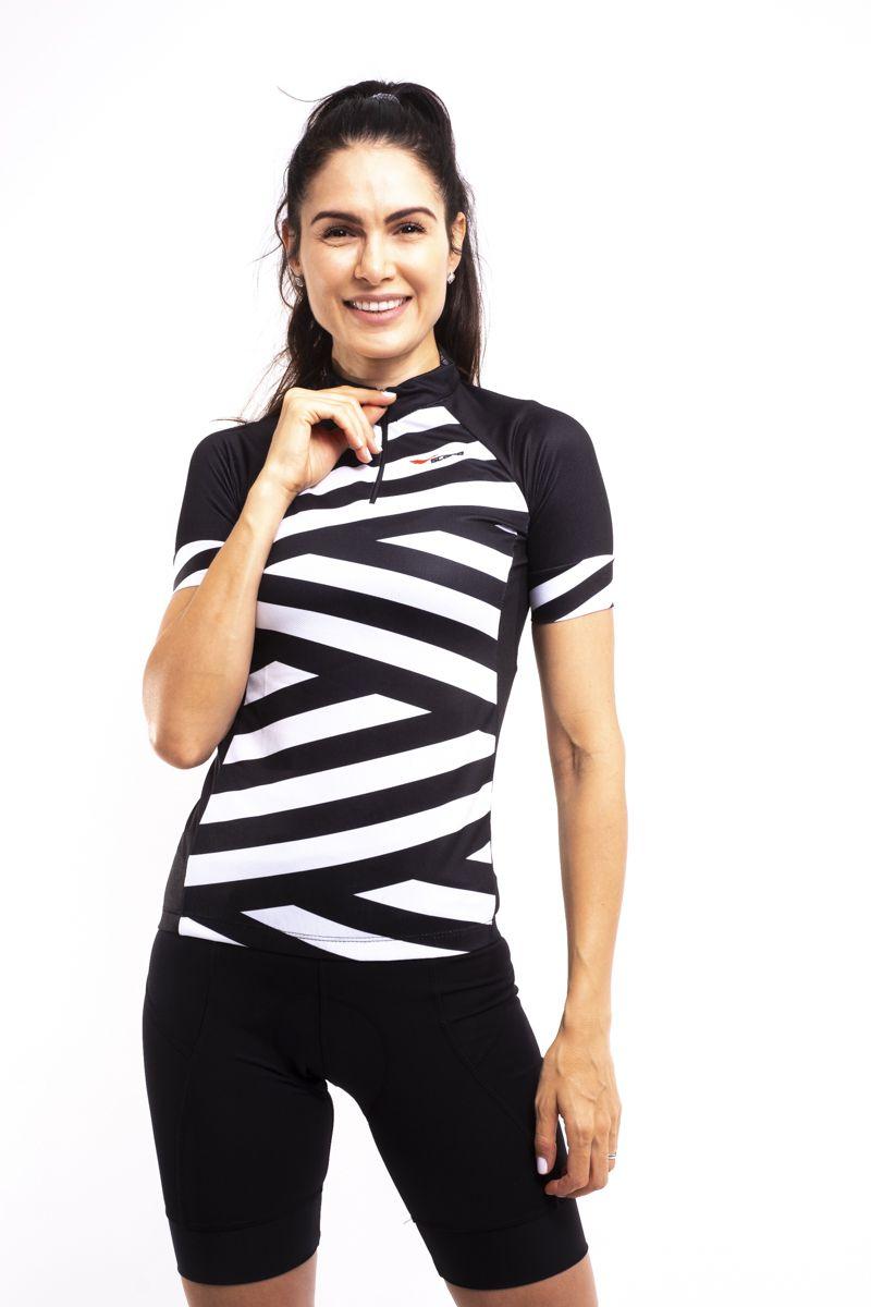 Camisa Ciclismo Preto e Branco Manga Curta Feminina
