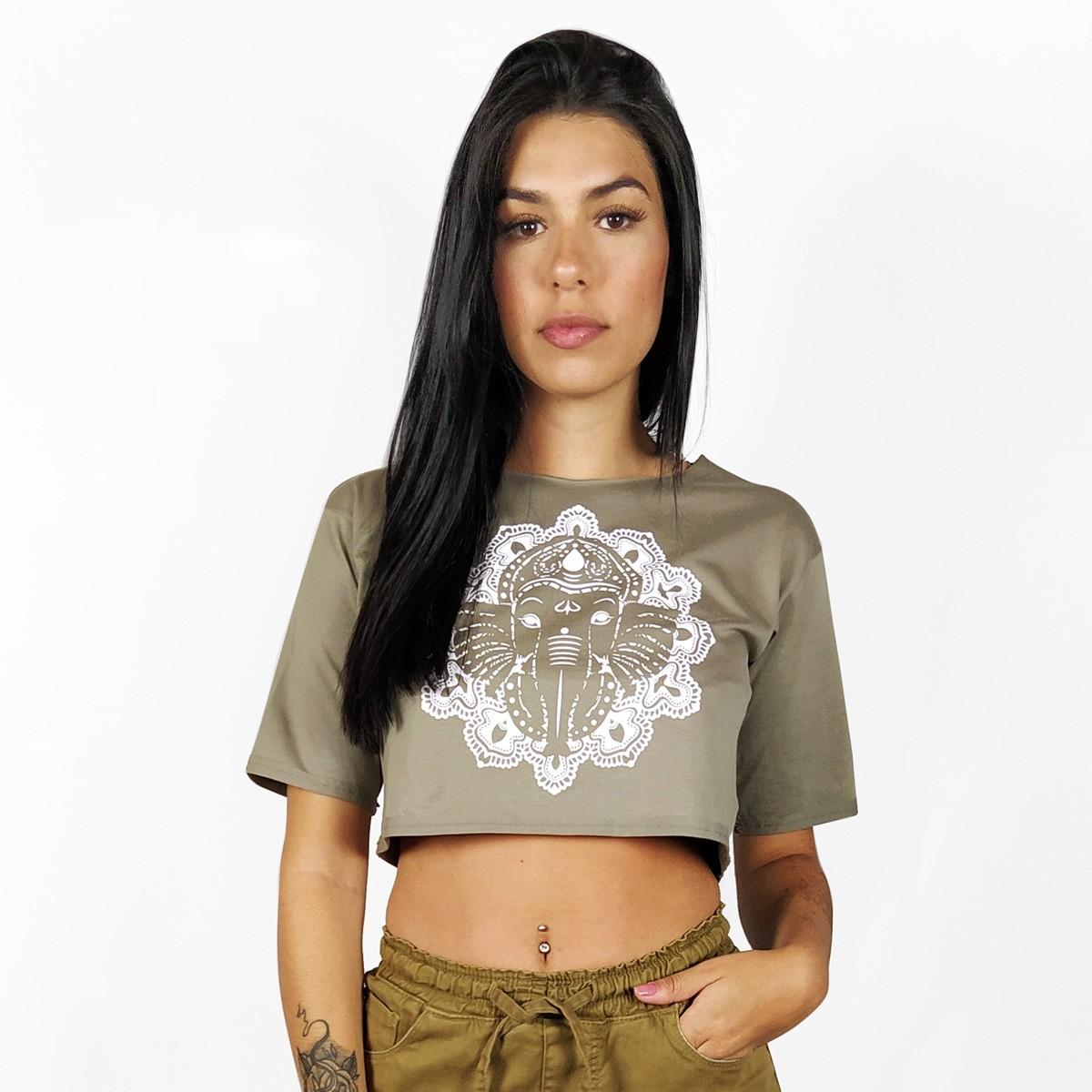 Blusa Cropped Feminina WSS Brasil Ganesha Khaki