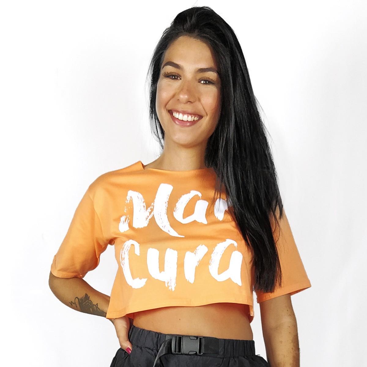 Blusa Cropped Feminina WSS Brasil Mar Cura Laranja