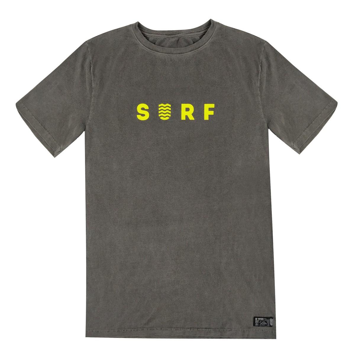 Camiseta Plus Size WSS Estonada Cinza Surf Neon Yellow Masculino
