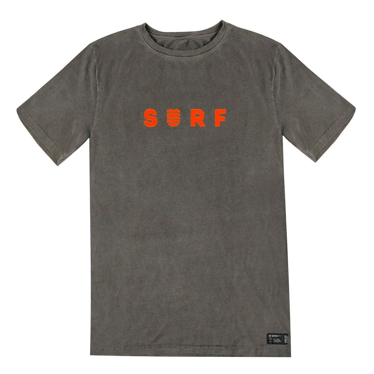 Camiseta Wss Estonada Cinza Surf Neon Orange Masculino